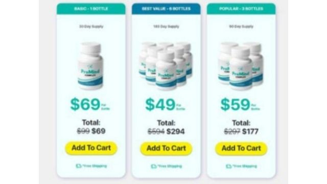 Cost of the ProMind complex Supplement